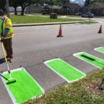 Mayor Cantrell Painting Some of the First New Bike Lanes in Algiers