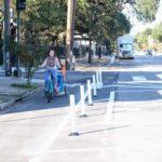 Biking with a trailer down Elysian Fields